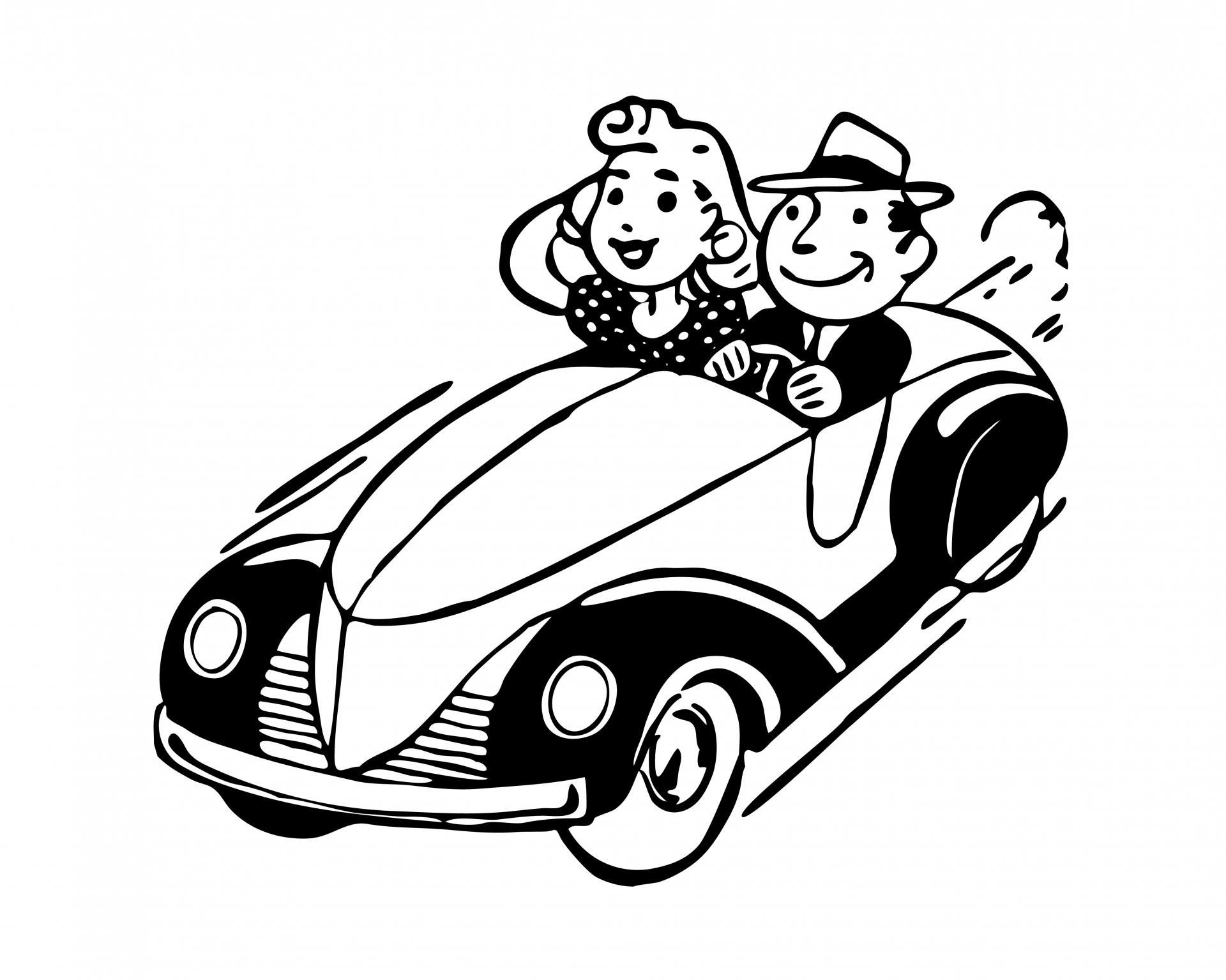 Vintage Car Couple Clipart Free Stock Photo