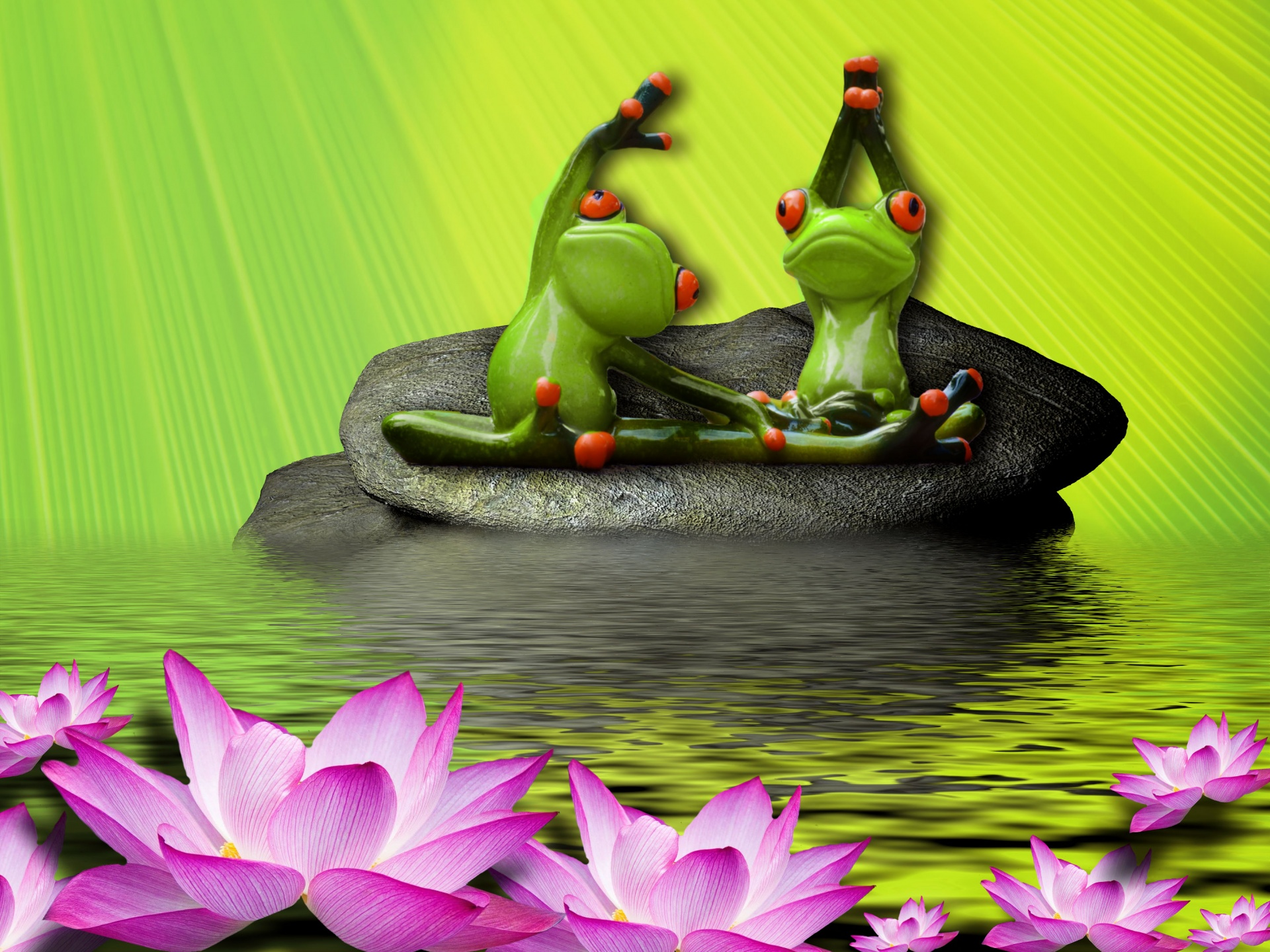 Frogs, Exercising, Yoga