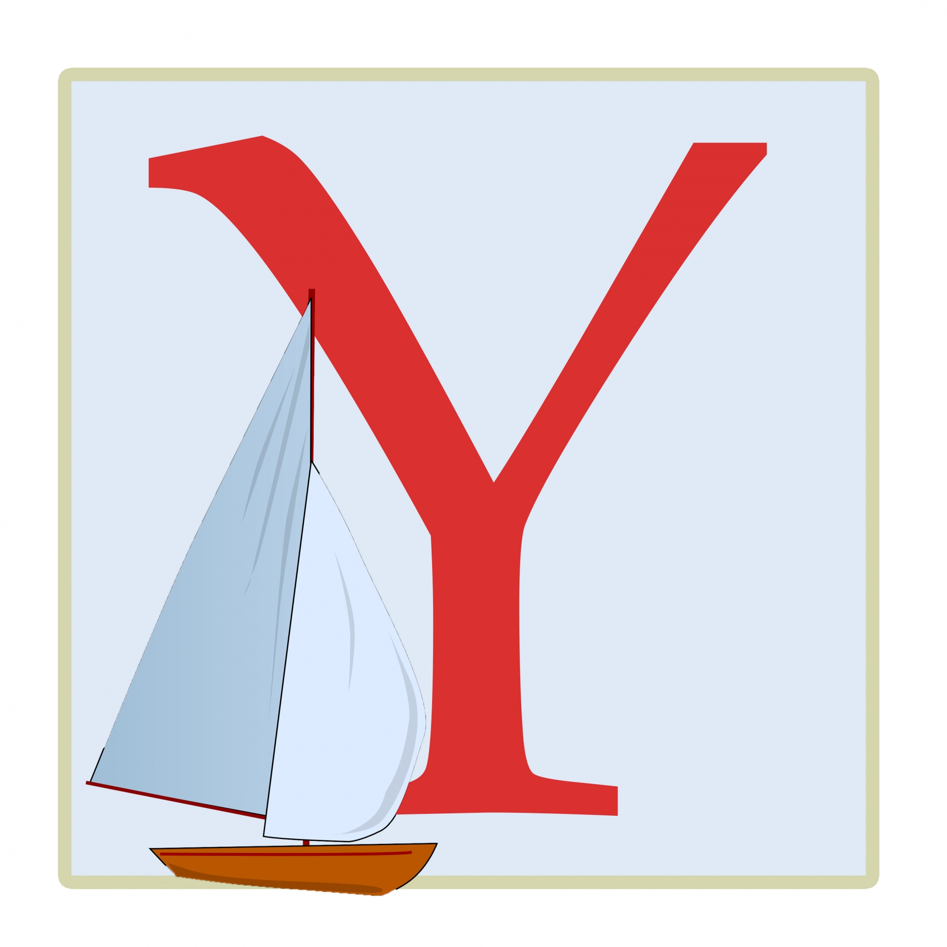 Letter Y Yacht Illustration Free Stock Photo