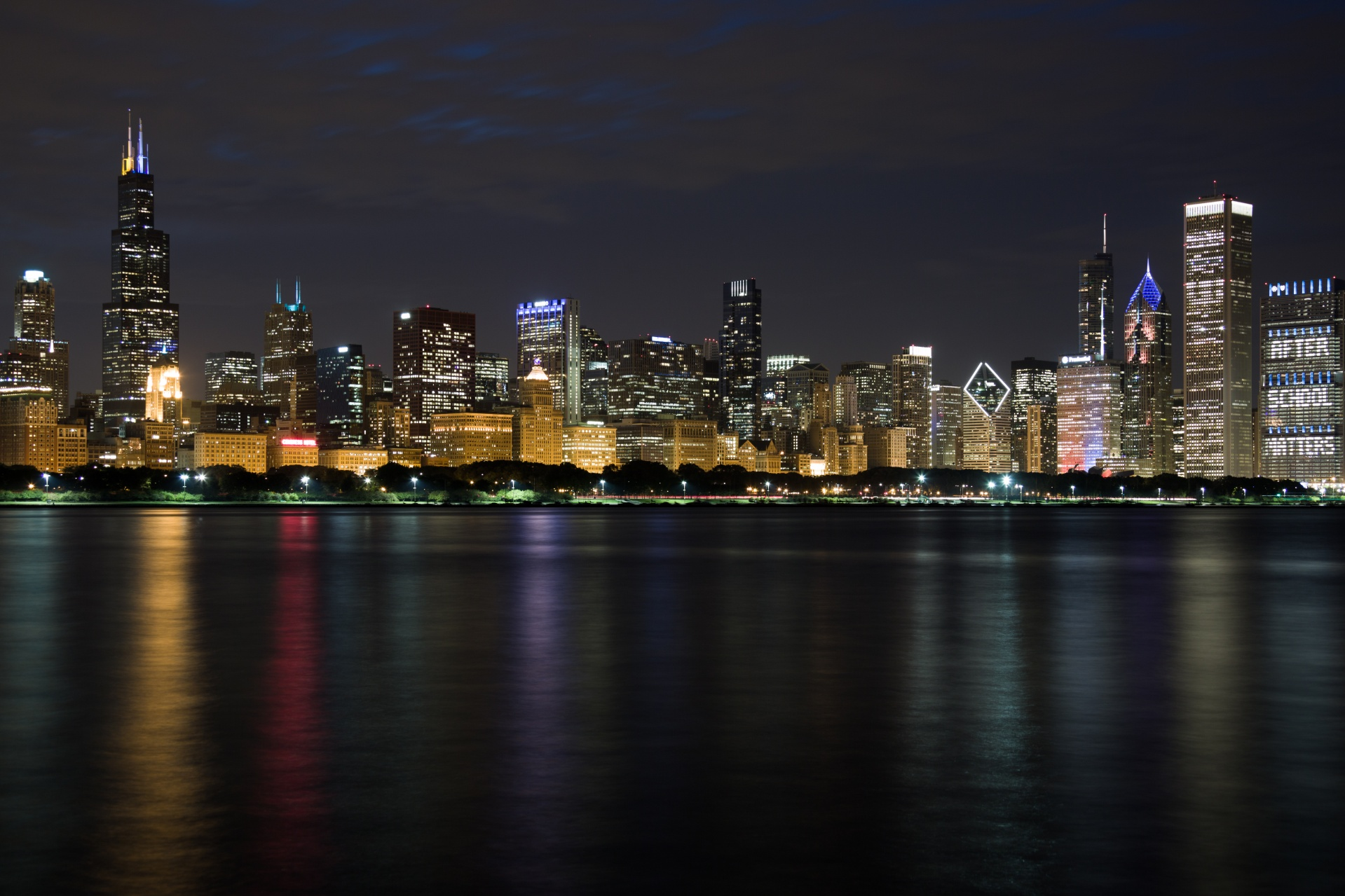City Lights, Chicago, Night Reflections