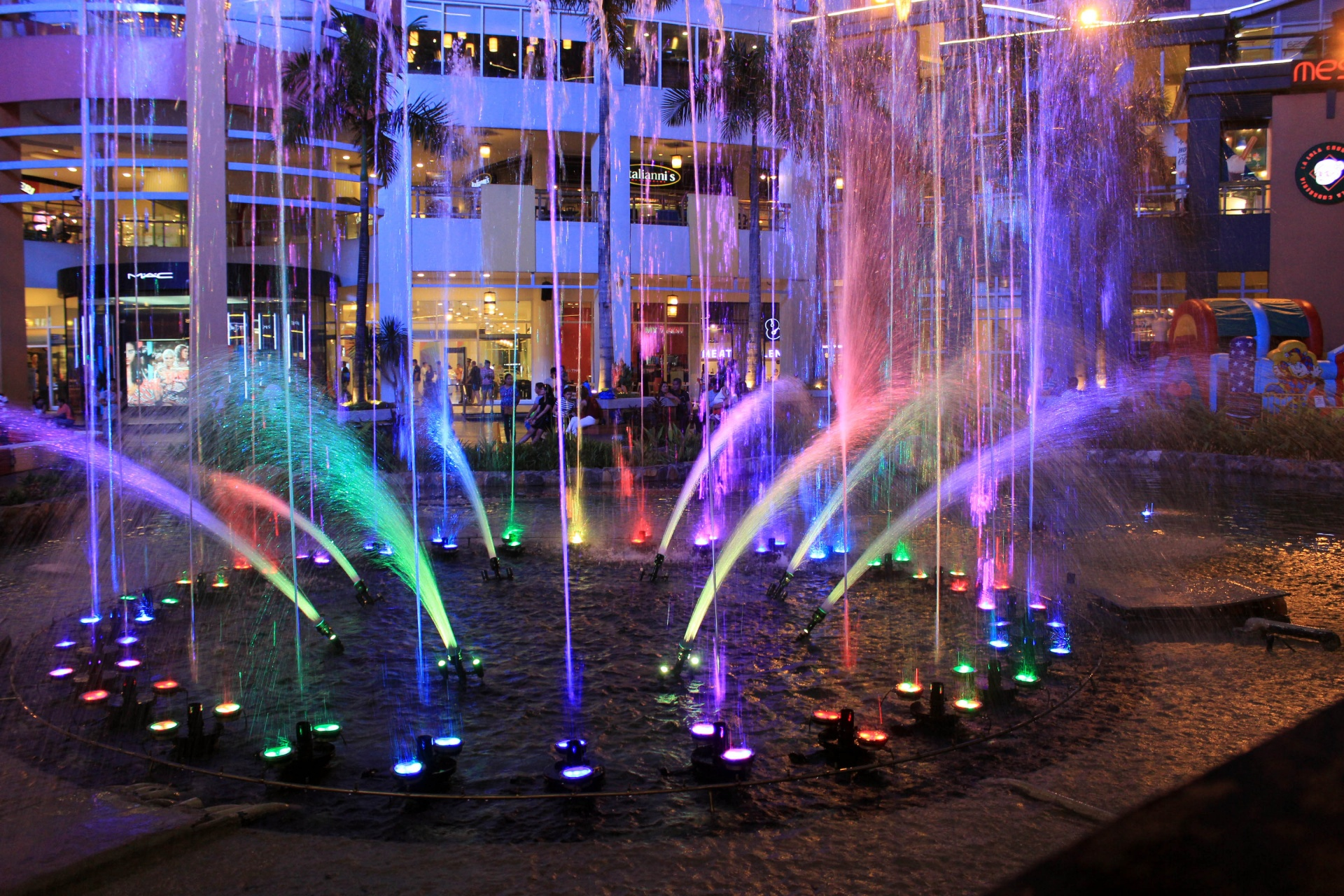 water fountain, water colors, colorful water fountain