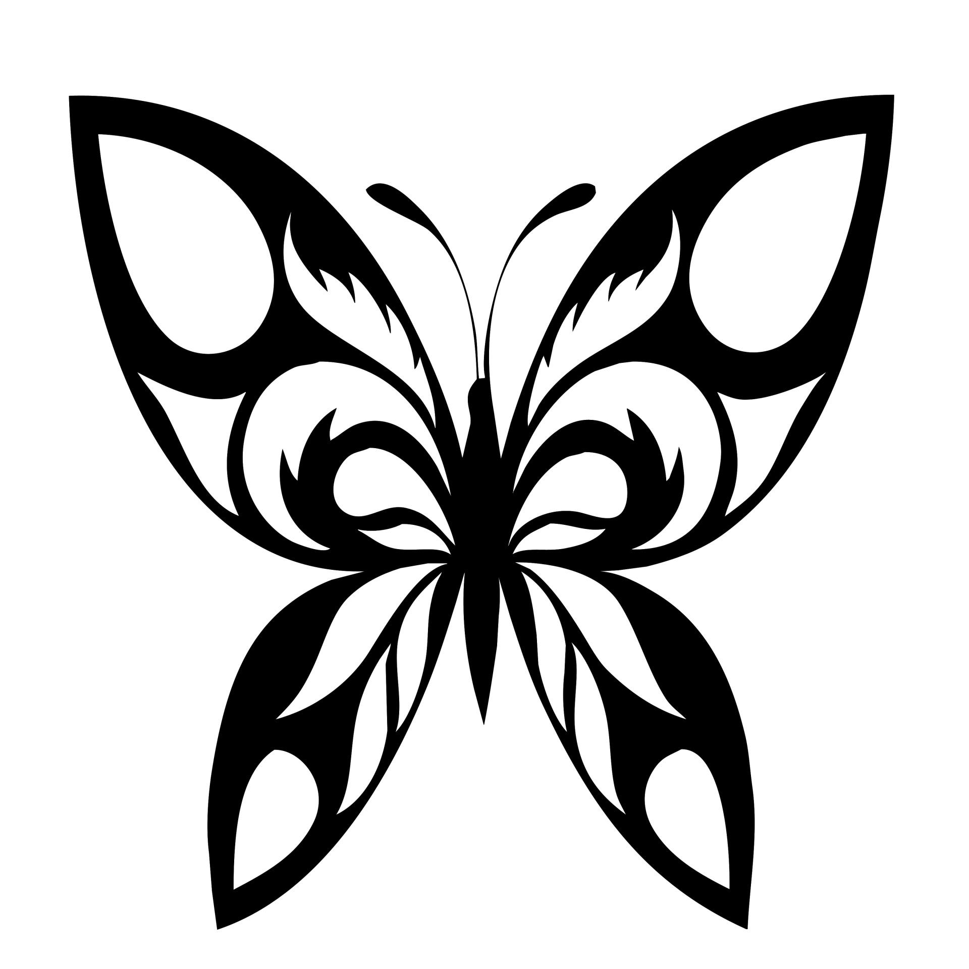 Butterfly Silhouette Black Motif Free Stock Photo
