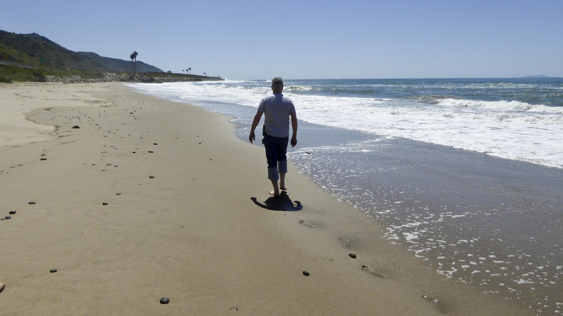 Man Walking Along Beach Free Stock Photo Public Domain
