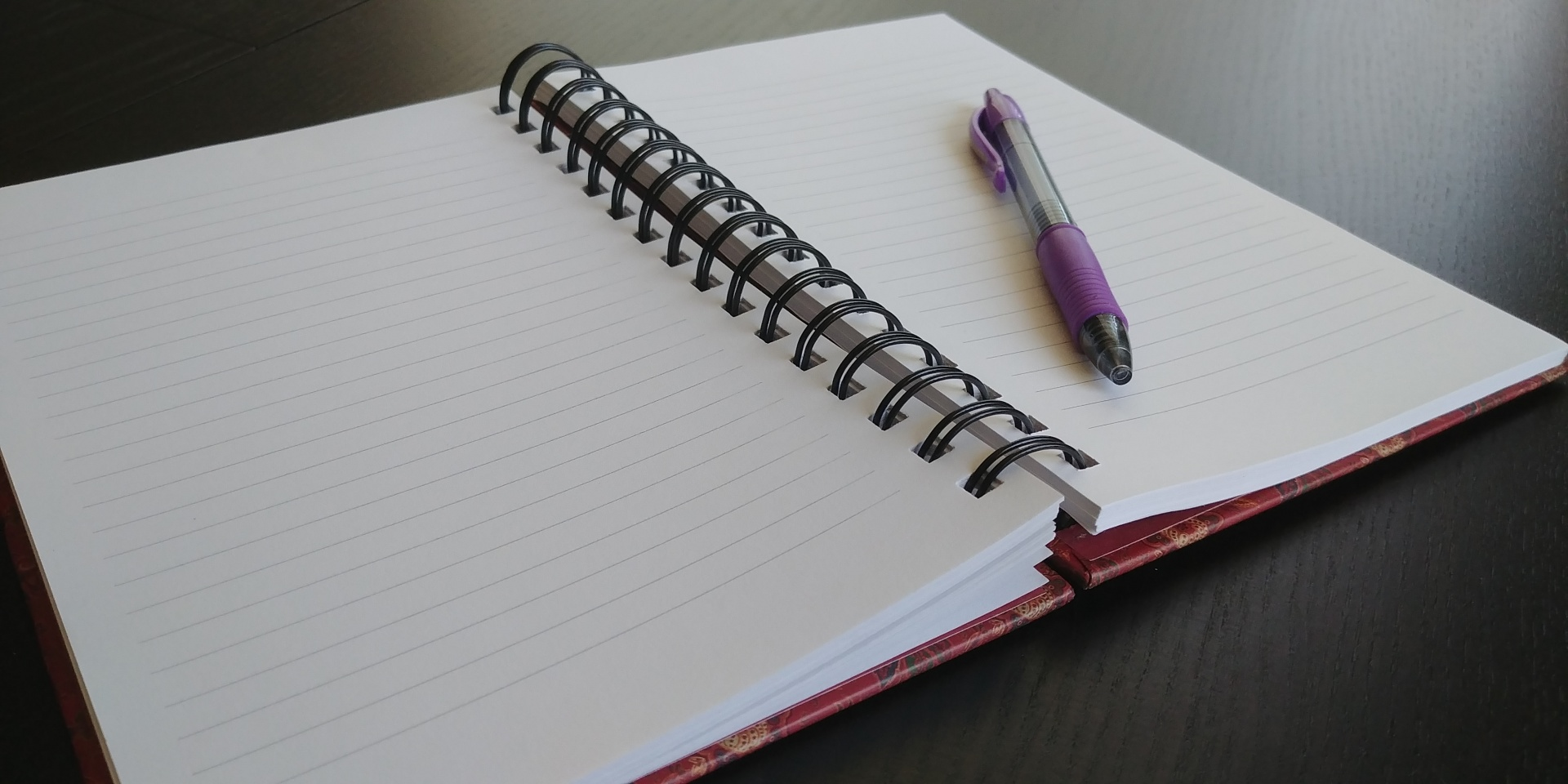 A public-domain photo of an open notebook.