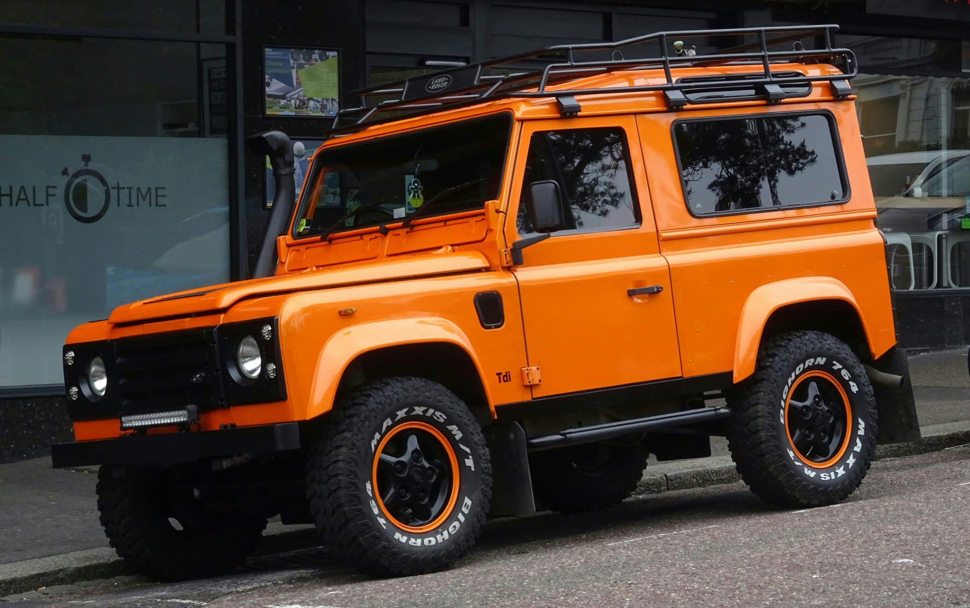 Orange Land Rover Defender Jeep Free Stock Public Domain
