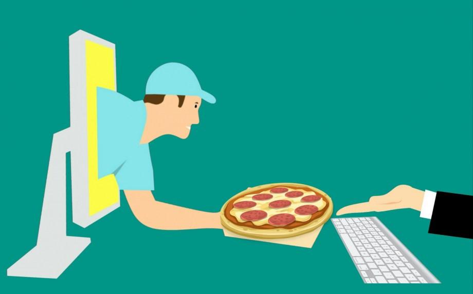 Pizza, servicio de mensajería, en línea, Stock de Foto gratis ...
