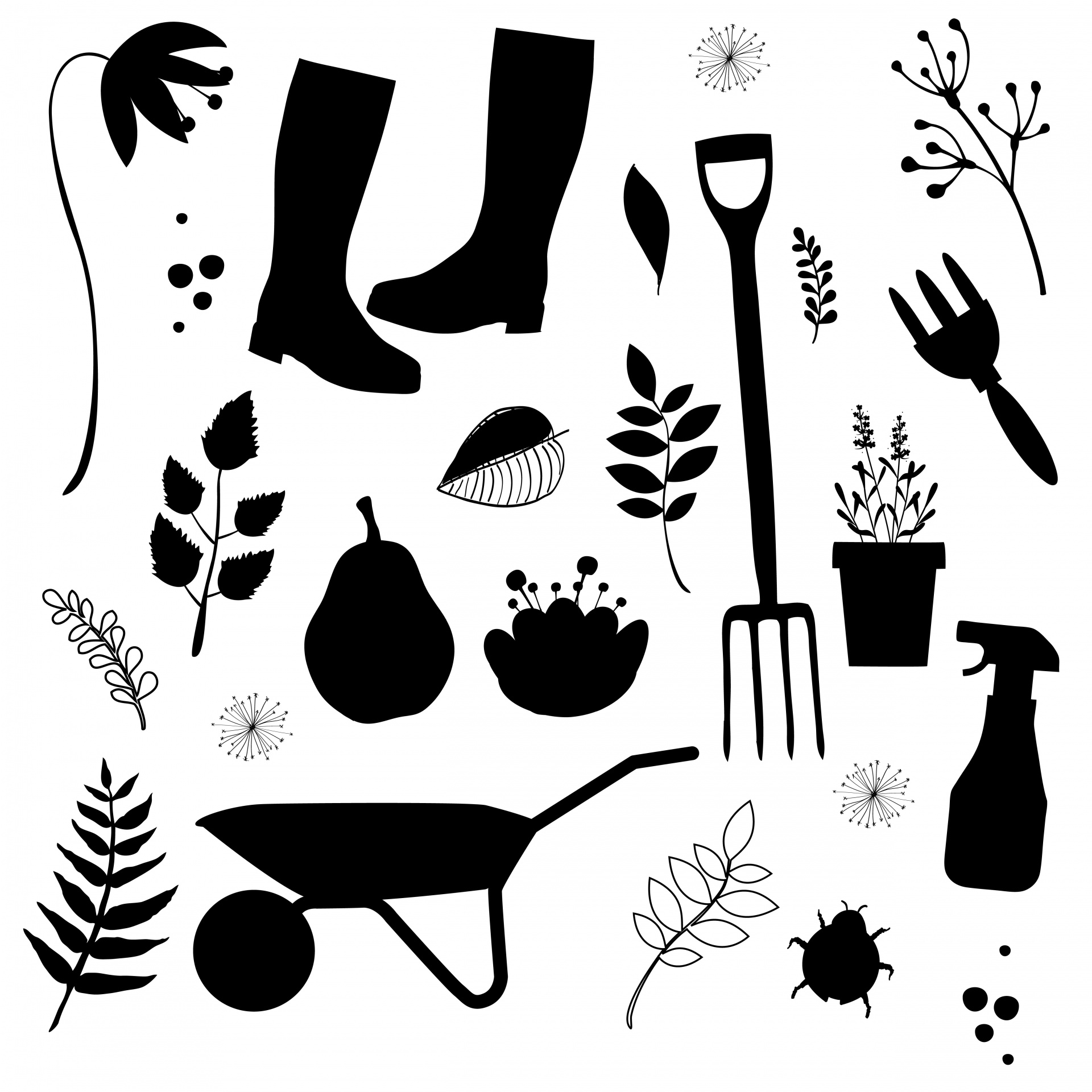 Gardening Tools Silhouette Clipart Free Stock Photo