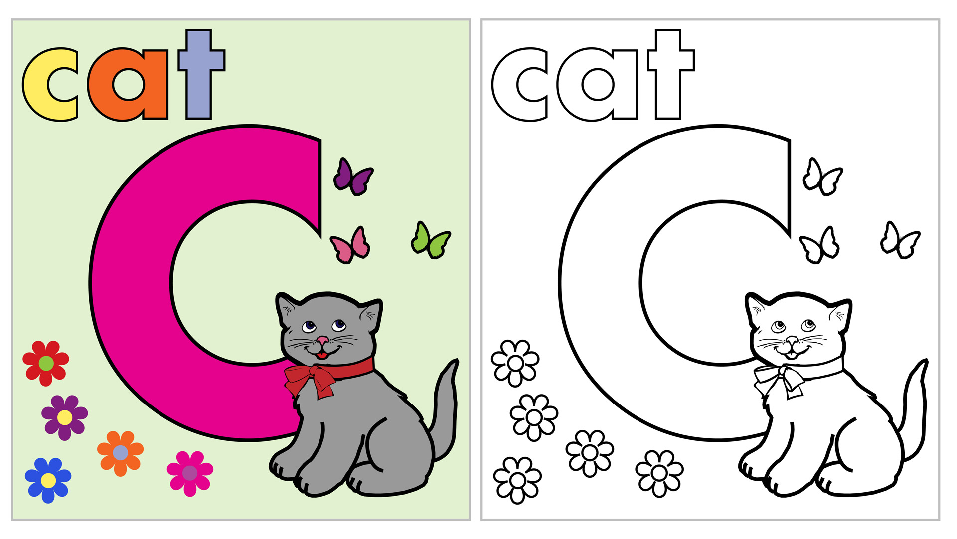 Cat Coloring Page Letter C Free Stock Photo