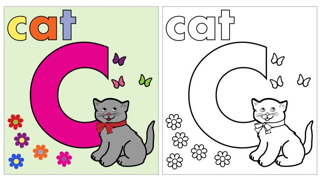 Cat Coloring Page Letter C Free Stock Photo - Public Domain Pictures