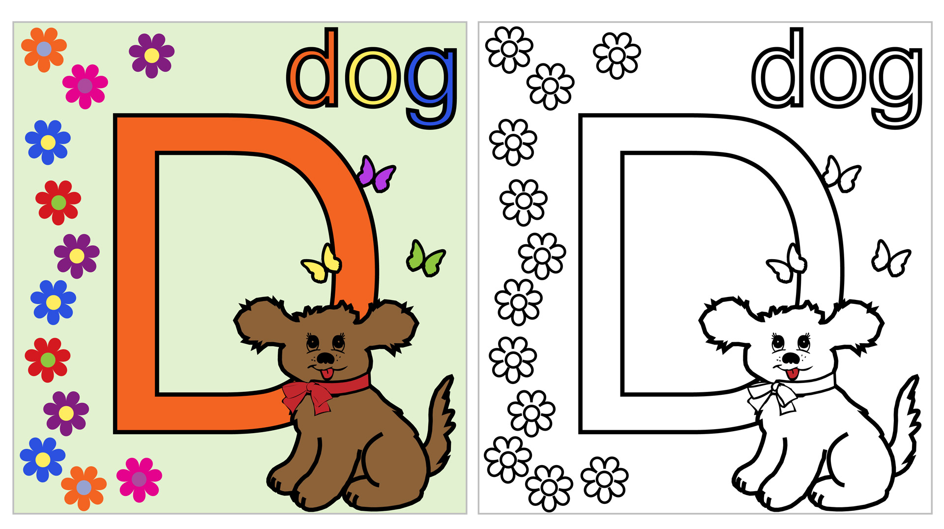 Dog Coloring Page D Free Stock Photo