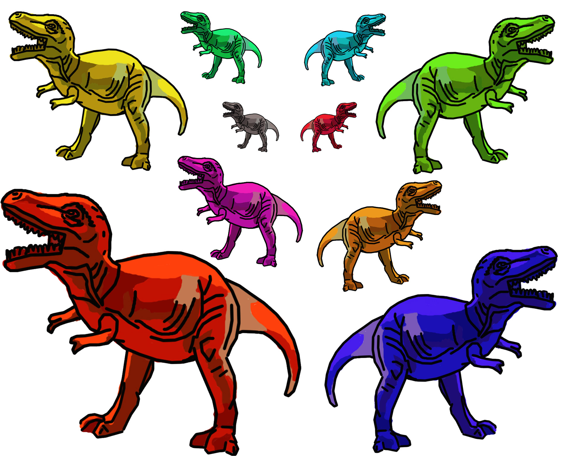 Multicolor T Rex Dinosaurs Free Stock Photo