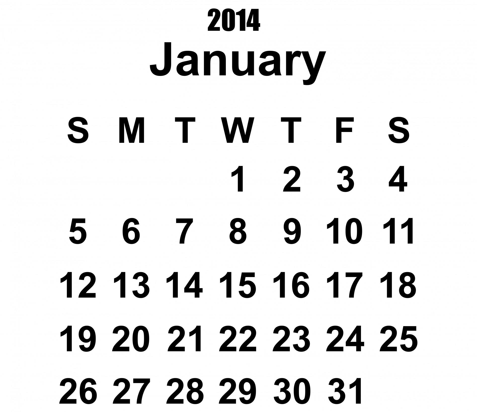 Calendar January Template Free Stock Photo
