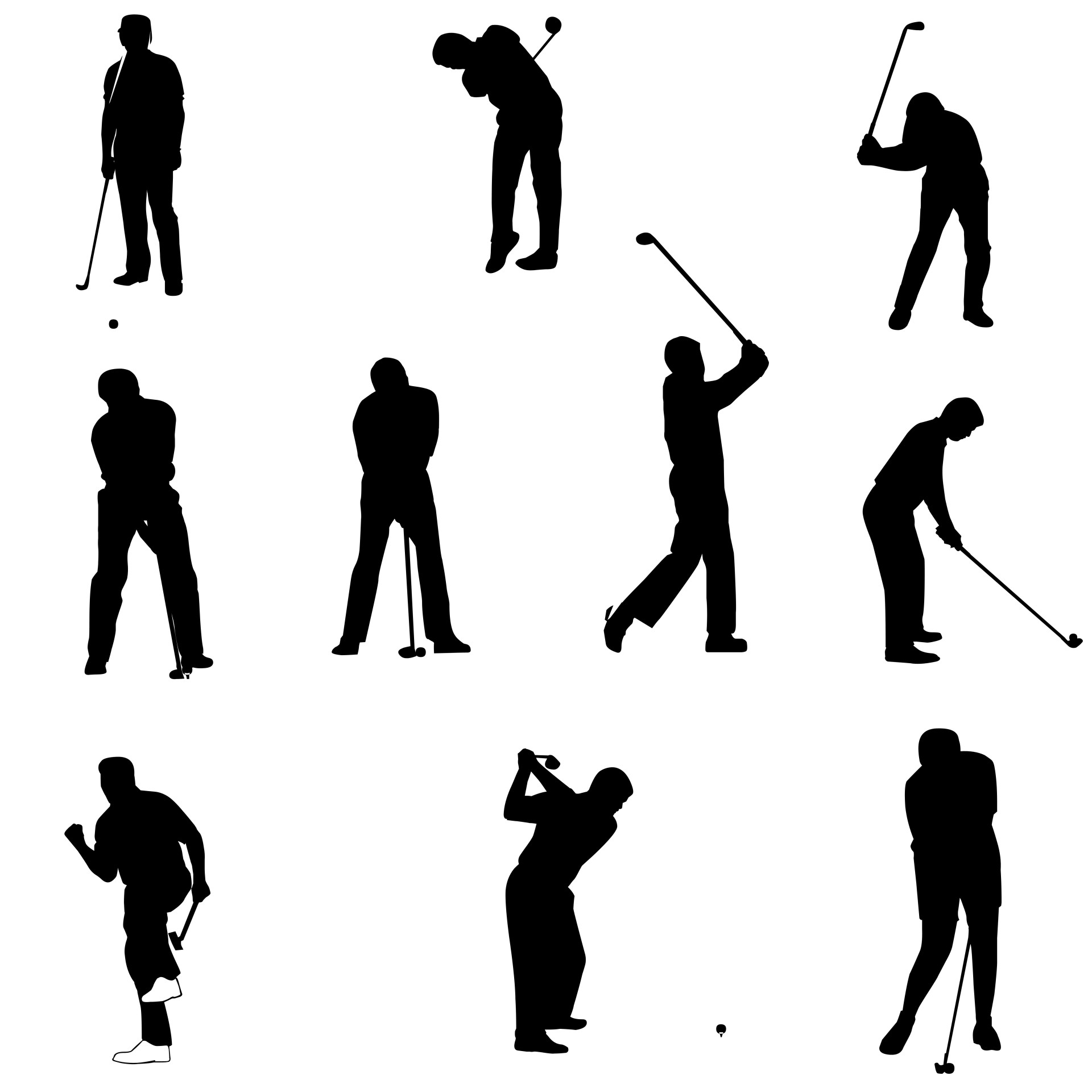 Golf Silhouettes Free Stock Photo