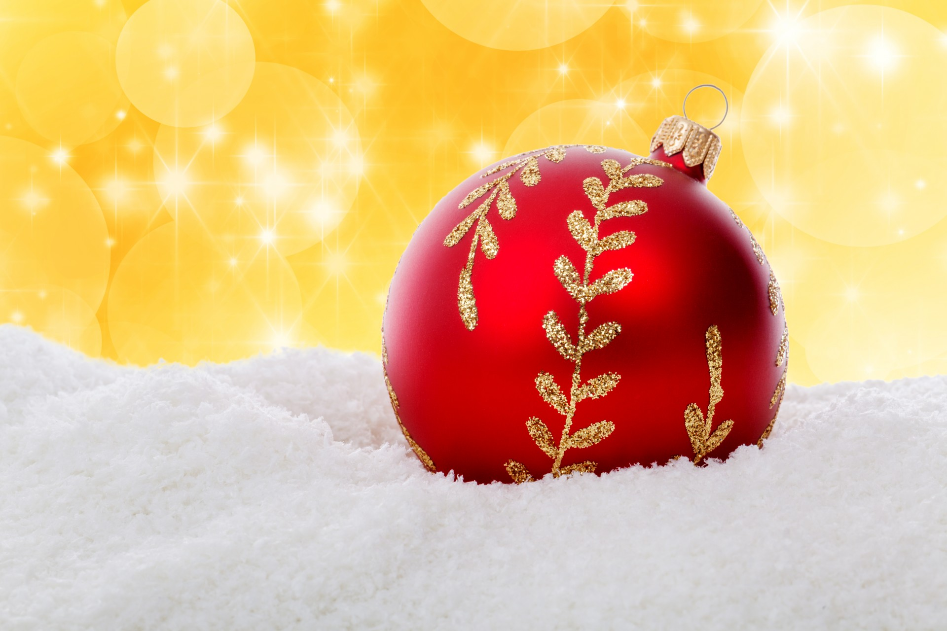 Red Christmas Ball In Snow Free Stock Photo Public