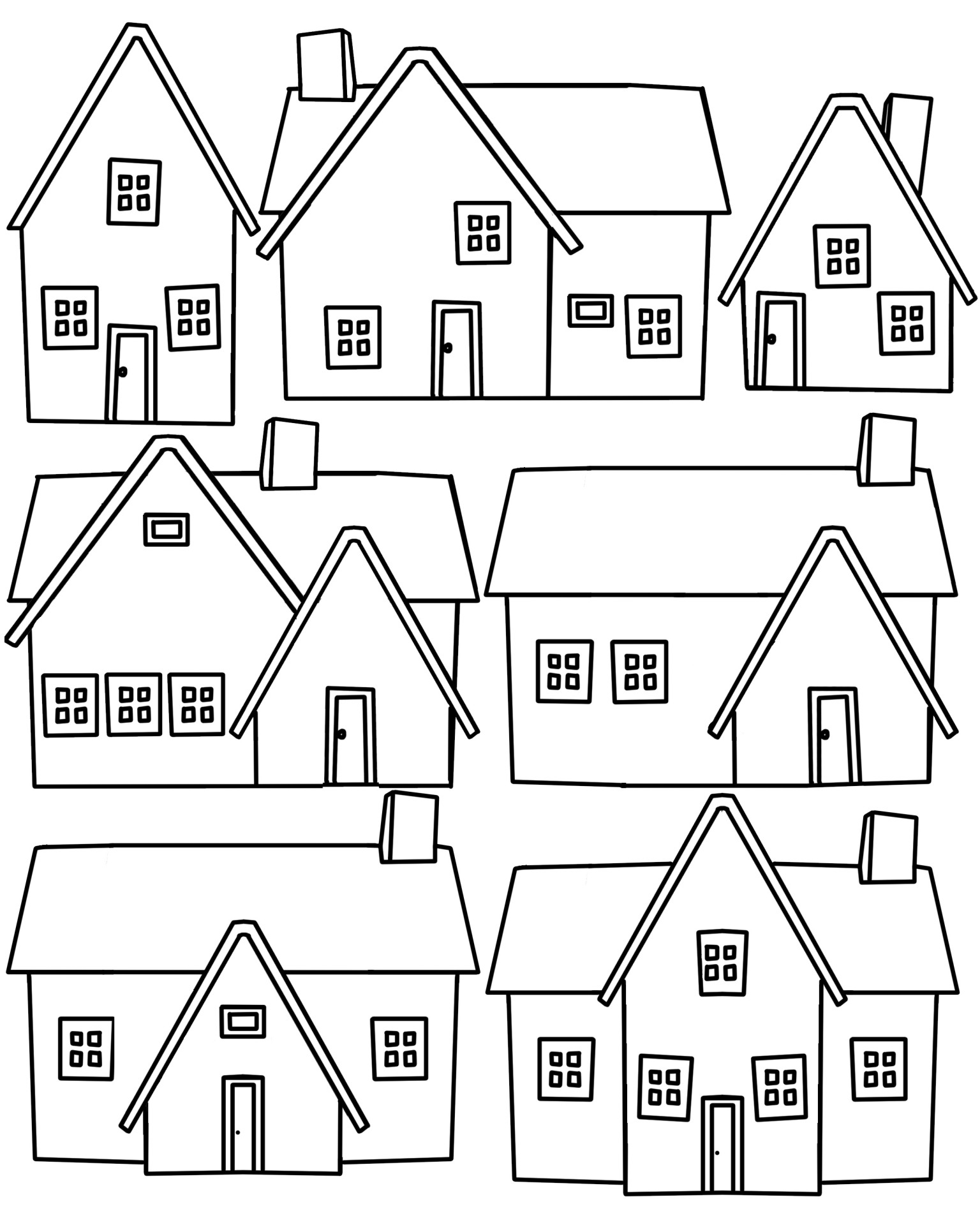 Seven Houses Outline Free Stock Photo