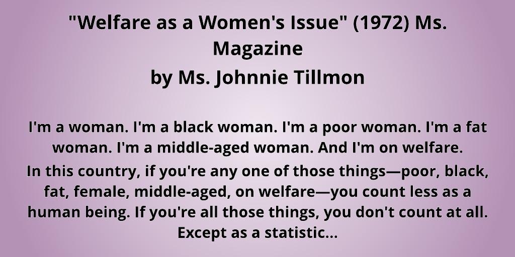"""Welfare as a Women's Issue"" (1972) by Ms. Johnnie Tillman printed by Ms. Magazine"