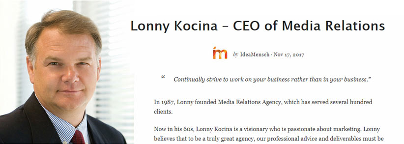 Lonny Kocina reaches out to other entrepreneurs with his story