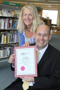 Ian Anstice with Cllr Gittins with Fellowship certificate