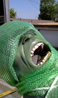The 9-foot statue of the Hulk in transit to Northlake Library.  See http://www.indiegogo.com/projects/bring-the-hulk-to-the-northlake-public-library