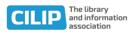 """New logo with """"The library and information association"""" as words to right"""