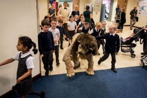 Well, that can't be safe - the Library Lion in action. Credit: Graeme Braidwood