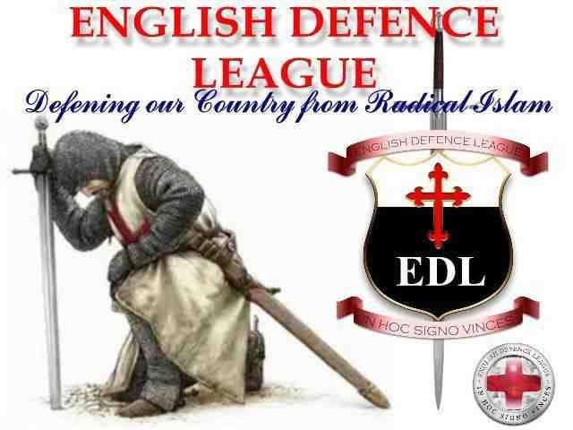 An advertisement for the extreme-right English Defense League utilizing crusader imagery to promote its anti-muslim agenda.