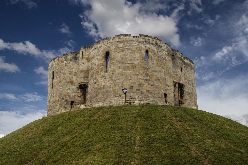 Clifford's Tower, in York, England, site of the massacre of York's Jewish population in 1190.