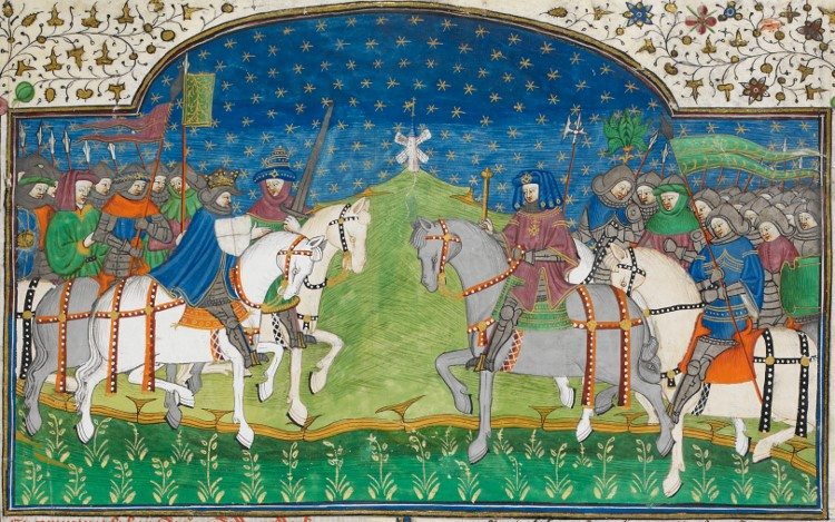 A medieval illumination in a manuscript of Guy of Warwick, featuring two armies with knights at their head, facing off.