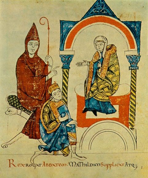 A medieval manuscript with three figures. On the left, a man with a bishop's crozier dressed in red, and another man in a blue tunic kneeling. On the right, a woman in a wimple and a gold cloak.