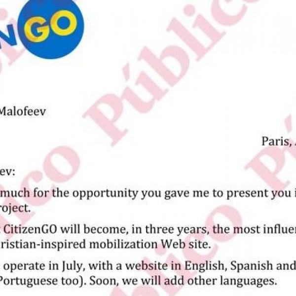 Carta de Arsuaga al oligarca ruso Maloféyev, pidiéndole 100.000 euros. — Wikileaks