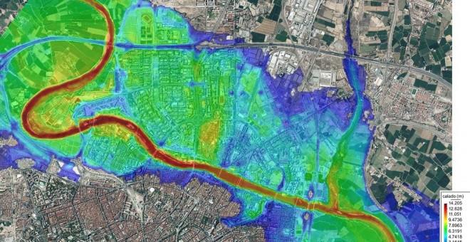 La simulación del geólogo Carlos Revuelto indica que la práctica totalidad de los barrios de la margen izquierda de Zaragoza y amplias zonas de la derecha quedarían inundadas en caso de rotura de la presa de Yesa. Carlos Revuelto