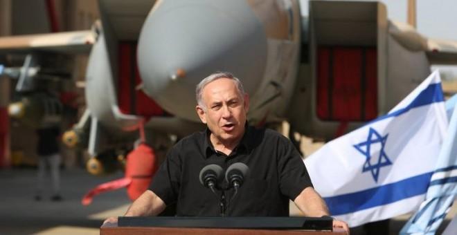 El primer ministro de Israel, Benjamin Netanyahu, durante una rueda de prensa. - AFP