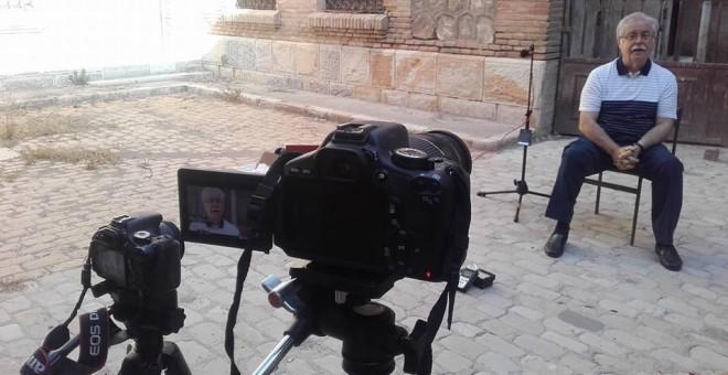 Una imagen de la grabación del documental.