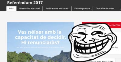 La página web referendum.cat, clonada por el Partit Pirata de Catalunya.