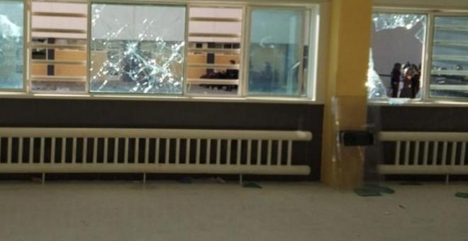Destrozos en el interior de la cárcel de Archidona tras una protesta de los migrantes internos.