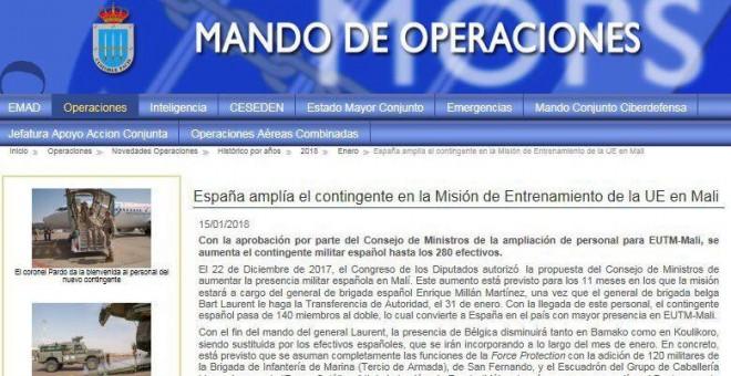 El Estado Mayor de la Defensa informando de que la ampliación de las tropas destinadas a Mali estaba aprobado por el Congreso, algo que no ha ocurrido.