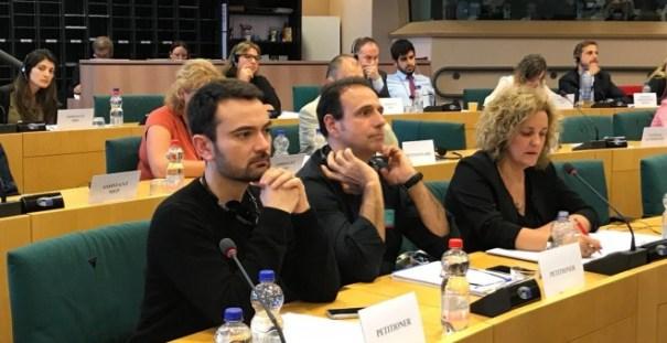 Los miembros del Comité de Informativos de TVE, en el Comité de Peticiones del Parlamento Europeo. TWITTER