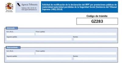Documento para reclamar la devolución del IRPF por las prestaciones de maternidad y paternidad.