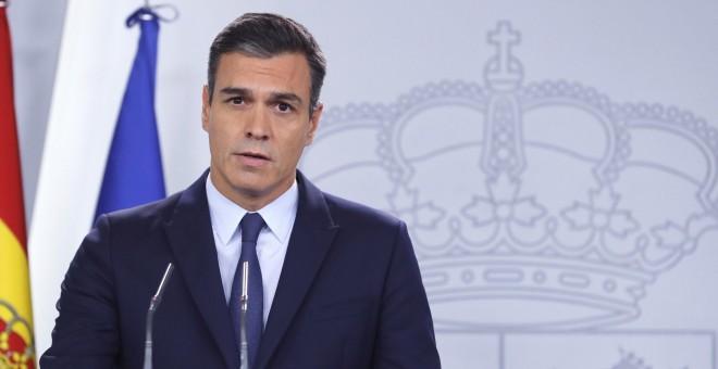 17/09/2019.- El presidente del Gobierno en Funciones Pedro Sánchez durante la rueda de prensa. / EFE -BALLESTEROS