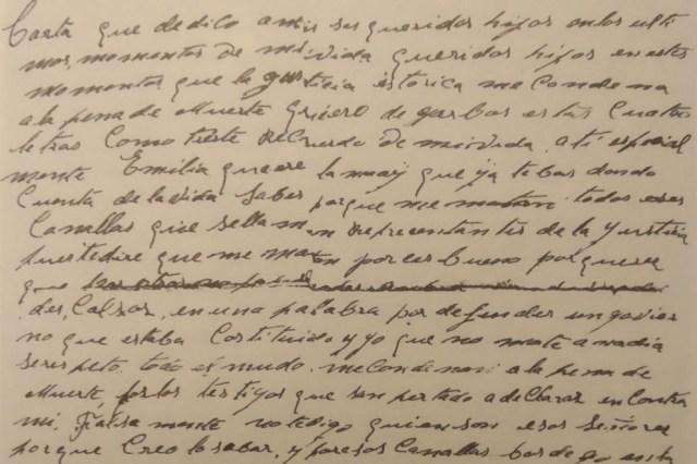 Carta de Manuel Estévez Gómez, preso republicano condenado a muerte por el franquismo.