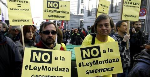 magen de una protesta contra la 'ley mordaza' celebrada en Madrid el pasado mes de febrero. / Efe