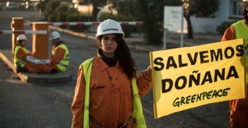 Una de las activistas de Greenpeace, durante la acción en Doñana. GREENPEACE