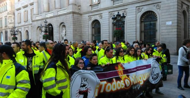 Marcha de los estibadores en Barcelona. Laura Safont
