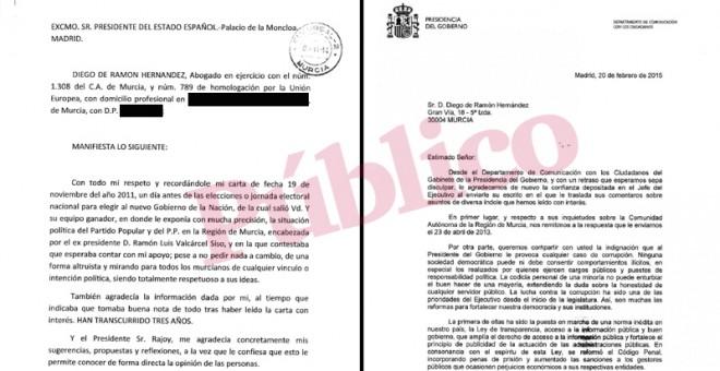 Carta del abogado murciano Diego de Ramón Hernández al presidente del Gobierno, Mariano Rajoy, y la contestación del Palacio de la Moncloa