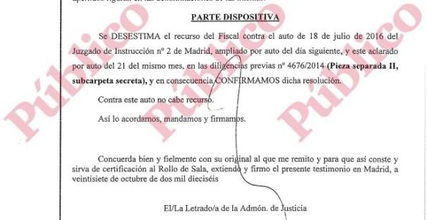 Parte dispositiva final del auto de la Audiencia Provincial de Madrid confirmando que hay que solicitar las cuentas de e-mail de Fuentes Gago, Inda y Urreiztieta.