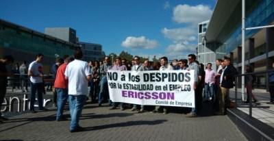Trabajadores de Ericsson en Málaga protestan contra el último ERE de la multinacional.- CCOO