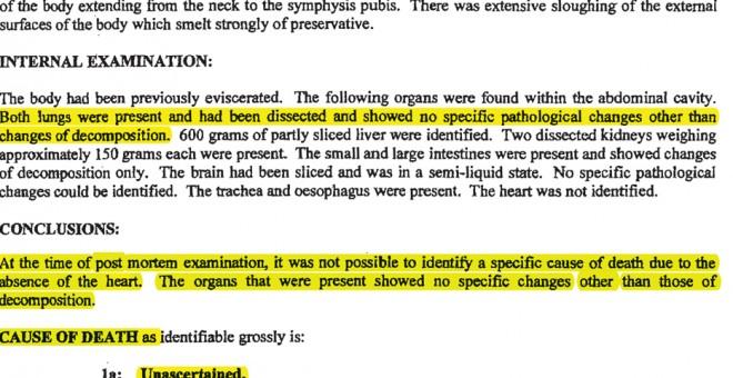 Fragmento de la autopsia británica donde se dio a conocer que su cadáver carecia de corazón y parte del hígado