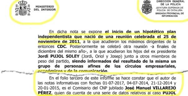 Dos fragmentos del informe de la Policía sobre el material incautado a los Mossos: no se identifica la 'nota informativa' como de Villarejo hasta tres páginas después de detallar su contenido sensacionalista.