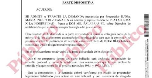 Fragmento del decreto de la jueza Fojón Chamorro admitiendo a trámite la demanda de la PxH contra la editora de la web OKDiario que dirige Eduardo Inda.