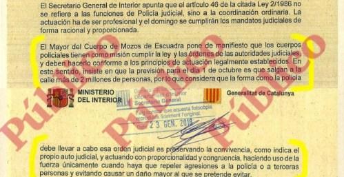 Párrafo del acta oficial de la Junta de Seguridad extraordinaria en el que Trapero avisa a Pérez de los Cobos de que las órdenes judiciales no permiten usar la violencia contra los ciudadanos.